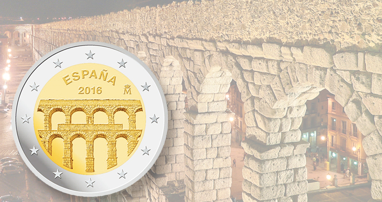 Spain's newest circulating commemorative €2 coin honors Segovia aqueducts