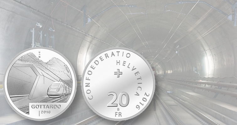 Switzerland silver 20-franc coin for mountain rail tunnel