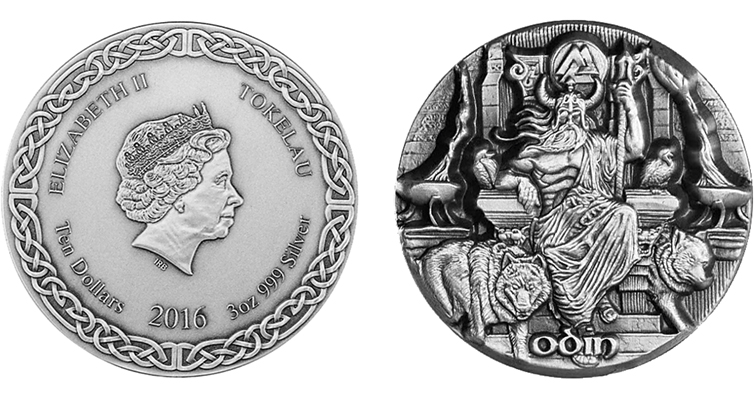 Tokelau's Odin 3-ounce antique silver $10 coin issued by Choice Mint