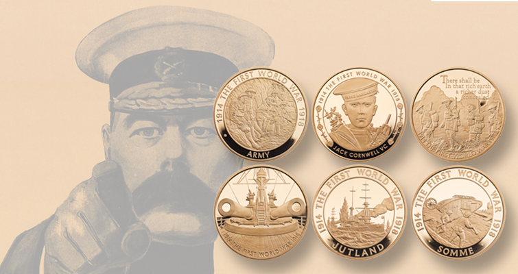 Britain's Royal Mint remembers World War I with six-coin centennial sets