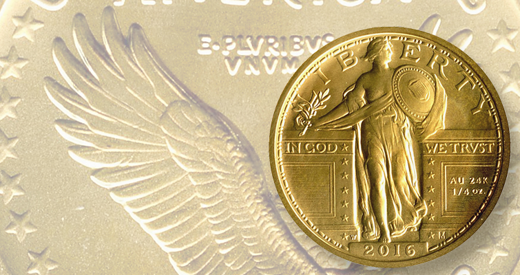 2016-W gold Standing Liberty quarter lead