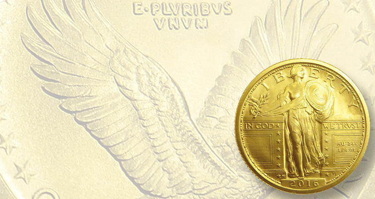 2016-W Standing Liberty gold quarter dollars on sale Sept. 8