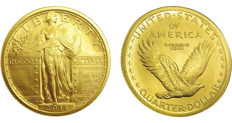 The Sept. 8 release date for the 2016-W Standing Liberty Centennial gold quarter dollar was disclosed by the Mint in its August CoinsOnline newsletter sent to nearly 350,000 Mint customers who subscribe to receive such newsletter notifications.