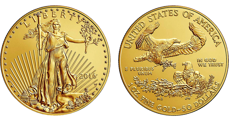 2016-W Uncirculated gold Eagle merged