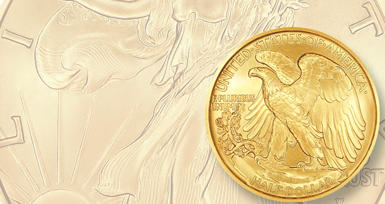 Gold Walking Liberty half dollar