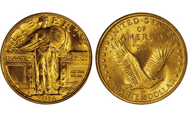 The gold 2016 Standing Liberty quarter dollar is to feature sculptor Hermon A. MacNeil's original Bared Breast obverse from 1916, not the modified Mailed Breast subtype introduced in 1917.