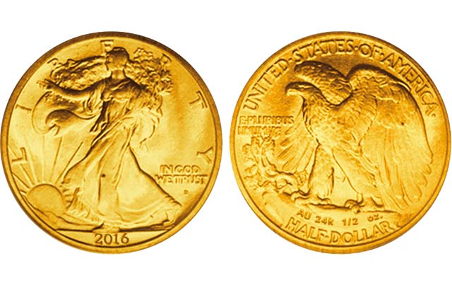 24-karat gold 2016 half dollar will be struck in a half-ounce size to mark the centennial anniversary of the introduction of sculptor Adolph A. Weinman's Walking Liberty half dollar designs.
