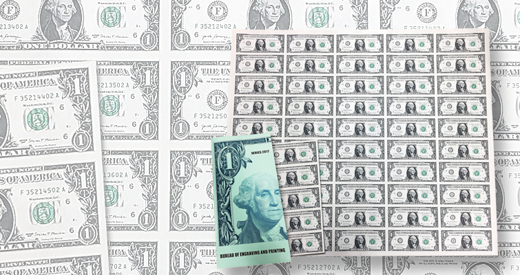BEP offers 50-subject uncut sheets of Series 2017 $1 Federal Reserve notes