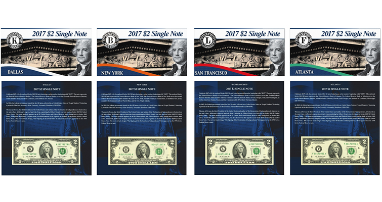 2017 $2 Single Note Collection