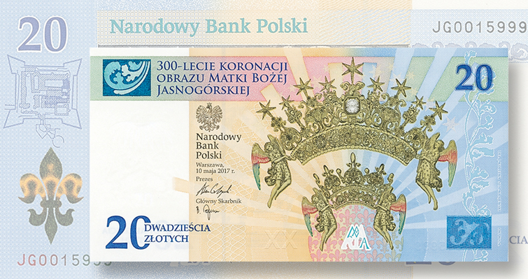 National Bank of Poland's new 20-zloty bank note commemorates event honoring religious icon