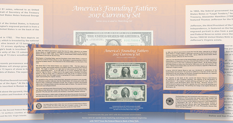 BEP's 2017 Founding Fathers set features Series 2013 $1 and $2 notes