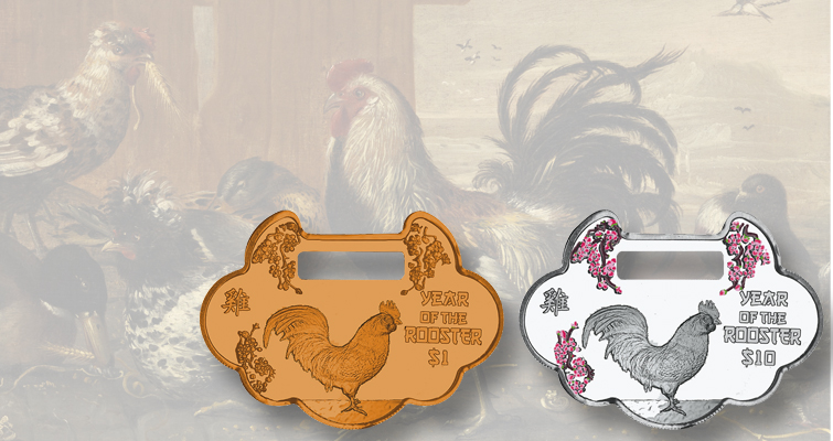 Lunar Year of the Rooster coins from British Virgin Islands also serve as jewelry