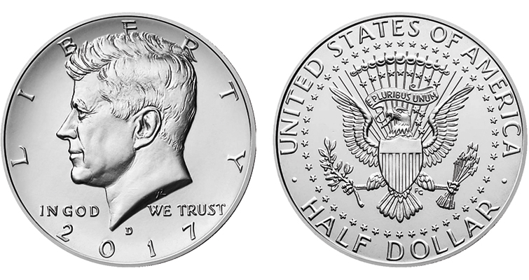 The 2017-D Kennedy half dollar, offered in a 20-coin roll from the Denver Mint, is paired with a 20-coin, Philadelphia Mint roll in a two-roll set.