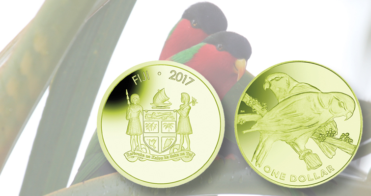 Colorful titanium Fiji $1 coin from Pobjoy Mint features the national bird