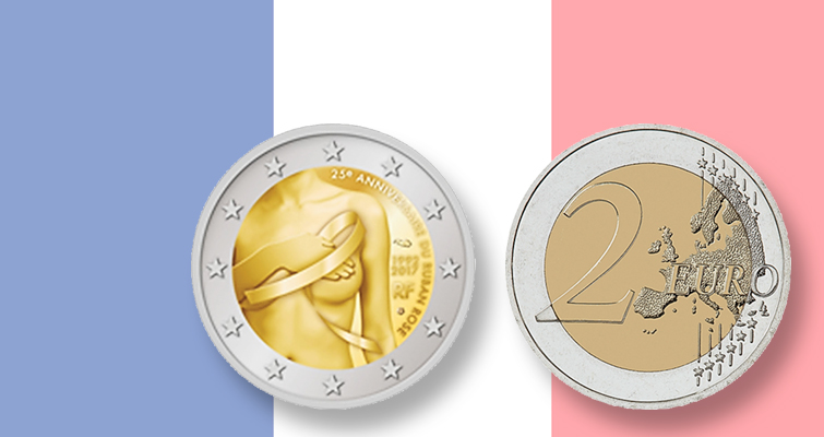 France issues breast cancer awareness circulating commemorative €2 coin