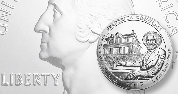 In the America the Beautiful series, sales for the 3-inch 5-ounce silver bullion issue featuring Frederick Douglass, the widely admired 19th century abolitionist leader, were ended at 20,000 pieces. The coin has almost doubled in retail value since it was released.