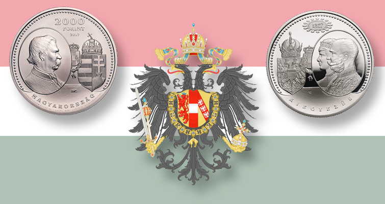 Hungary celebrates Compromise of 1867 on large copper-nickel, silver coins