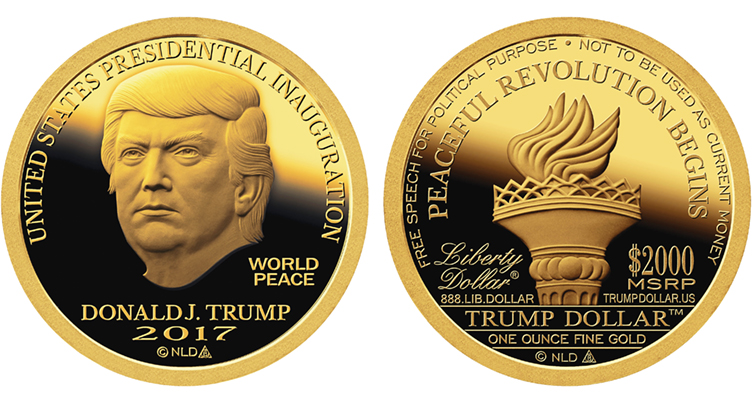 2017 Inaugural Trump Dollar gold Proof merged