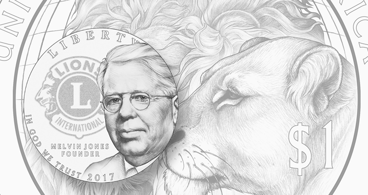 Lions win for reverse of 2017 Lions Club commemorative silver dollar