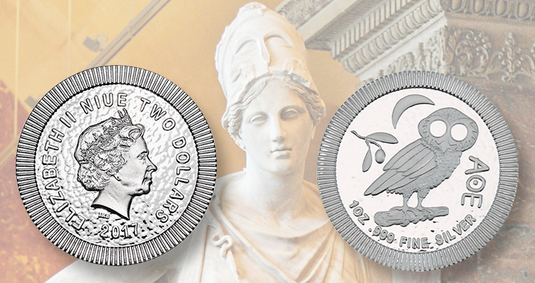 Athenian owl peers out from new silver bullion issue for Niue