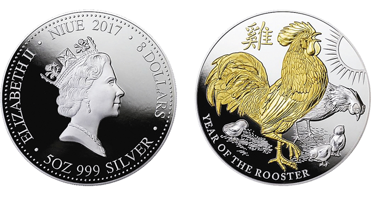 2017-niue-rooster-five-ounce-gilded-coin