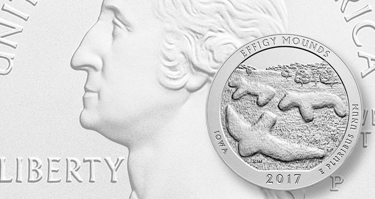 Uncirculated 2017-P Effigy Mounds National Monument 5-ounce silver available March 7
