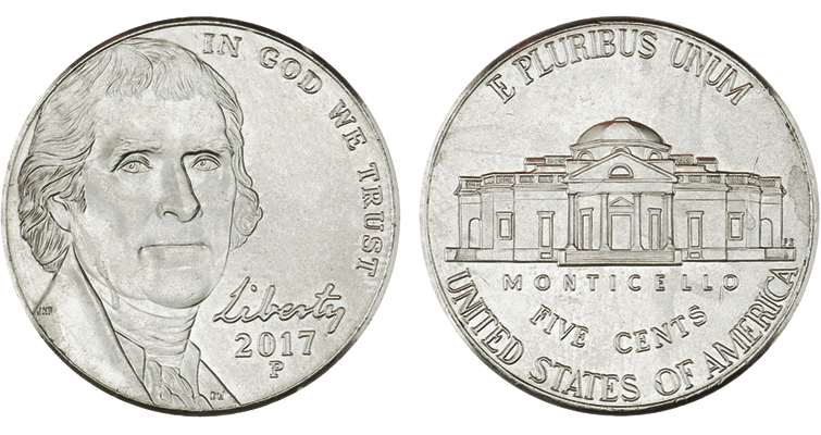 2017-P Jefferson 5-cent coin merged