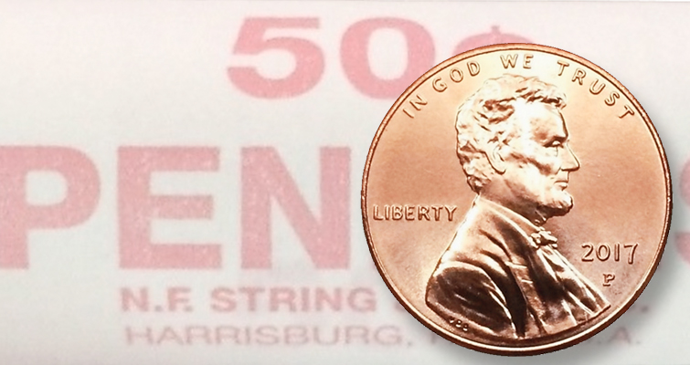 SHIELD PENNY WITH 50 ROLL BOX MUST SEE NEW  2014-P LINCOLN CENT UNC