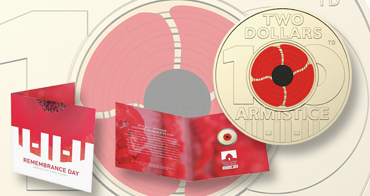 2018 Australia Remembrance Day Armistice Red Poppy $2 Two Dollars Coin