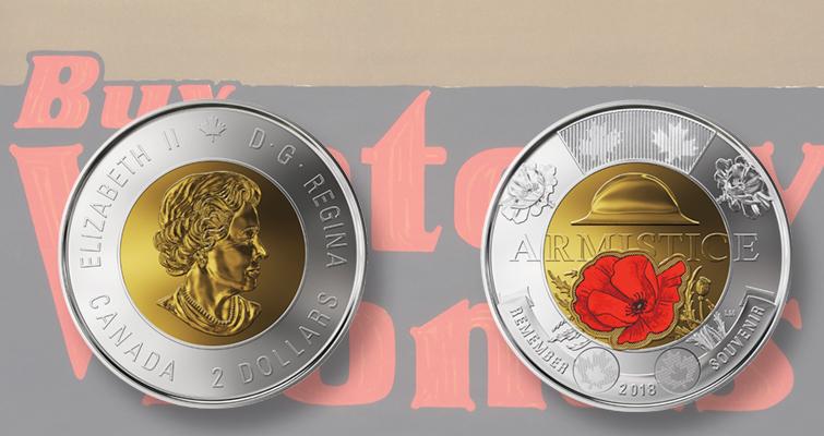 Canadian 2018 COLOURED 100th Anniversary of Armistice $2.00 coin