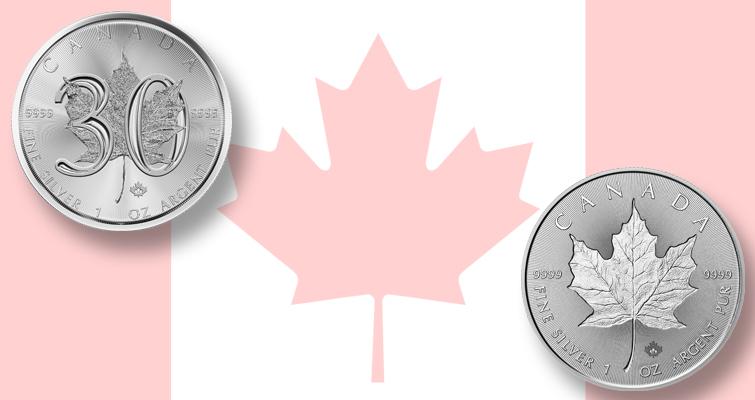 2018-canada-5-dollar-30th-anniversary-maple-leaf-coins-pair
