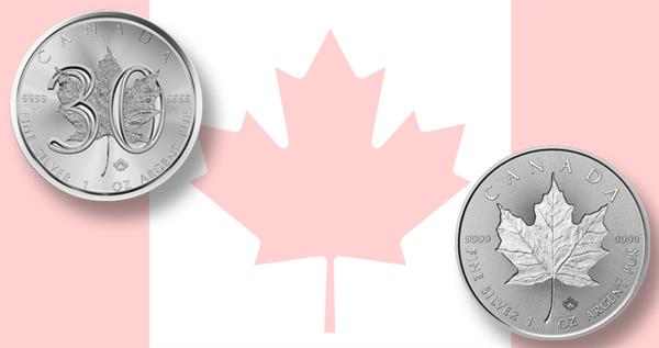 2018-canada-5-dollar-30th-anniversary-maple-leaf-coins-pair