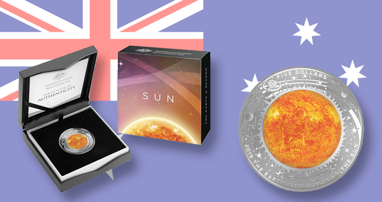 """The Sun 1oz RAM Coloured Silver Domed Proof Coin /""""/""""/"""" 2019 The Earth /& Beyond"""