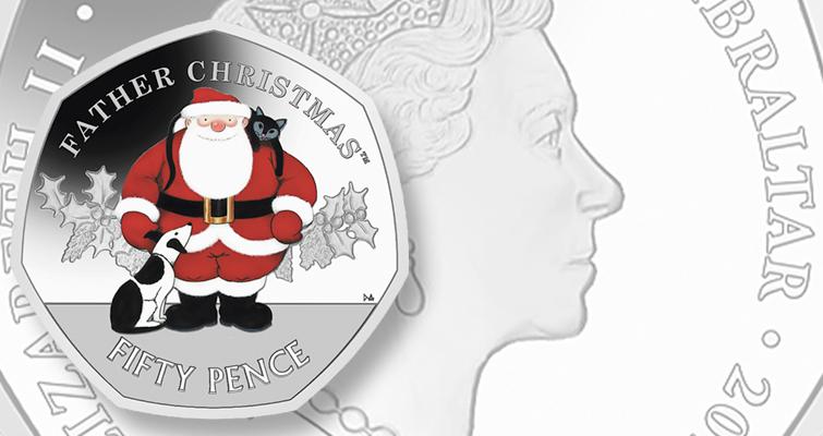 2020 Father Christmas 50p Mintage Father Christmas returns on Gibraltar 2019 50 penny coin