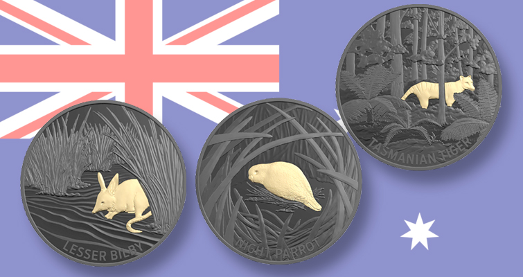 Night Parrot proof coin 2019 Echoes of Australian fauna
