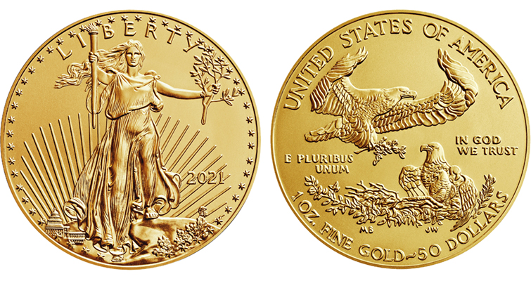 2021 American Eagle gold bullion coin with old design