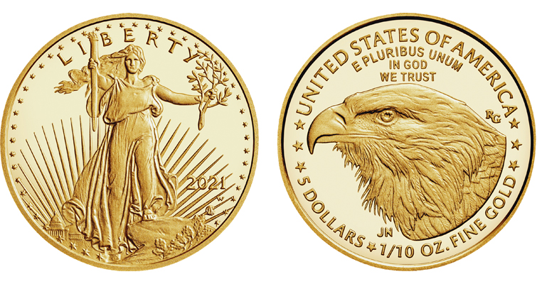 Reverse of 2021 American Eagle gold