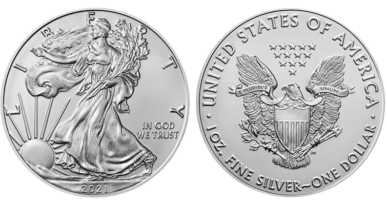 2021 American Eagle silver Reverse of 1986