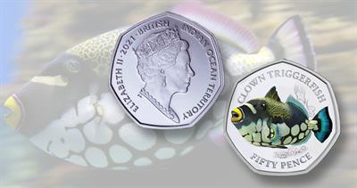 Pobjoy Mint Sea Creatures Clown Triggerfish 50-penny