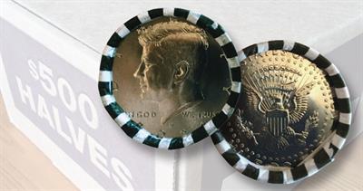 Rolls of 2021-D Kennedy half dollars