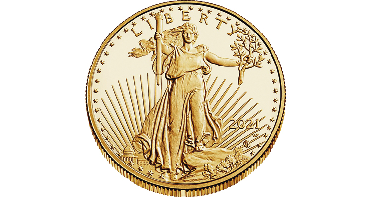 2021 gold American Eagle anti-counterfeiting notch