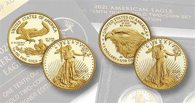 2021 Proof two-coin gold American Eagles