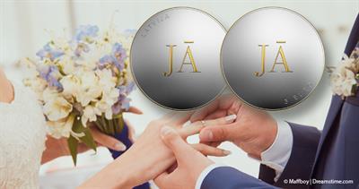 2021 Latvia silver 5 euro marriage coin
