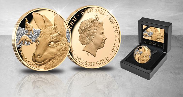 2021 gold $100 kangaroo coin for Niue
