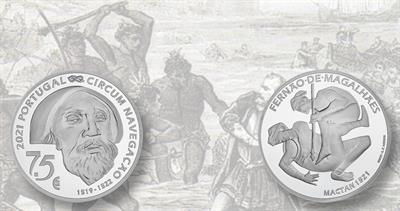 Silver euro coin from Portugal honoring Magellan