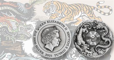 2021 silver Tuvalu dragon tiger coin
