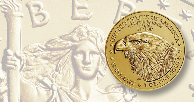 Uncirculated 2021-W American Eagle gold $50 coin