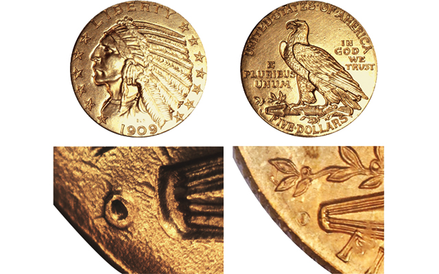 Mint mark alterations have been found on 1909-O Indian Head gold $5 half eagles