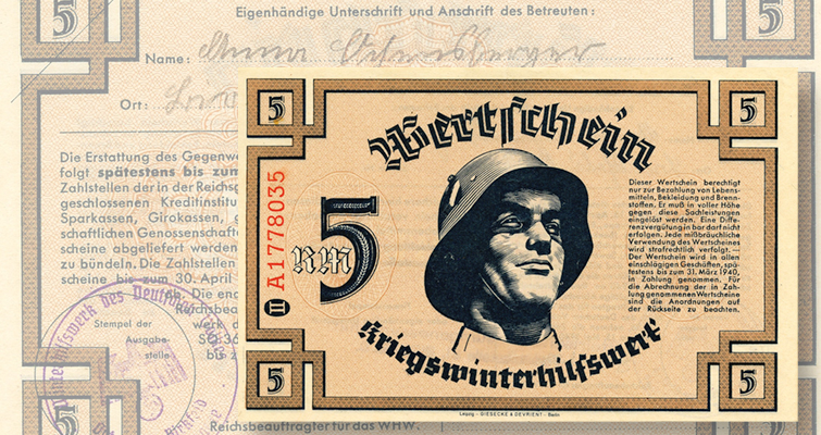 Social welfare paper ephemera reminder of Germany's WWII homefront realities