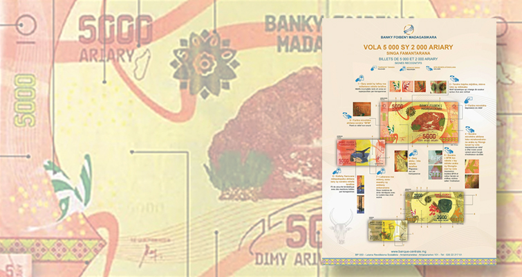 Madagascar begins redesign of its paper money, with the first notes just issued